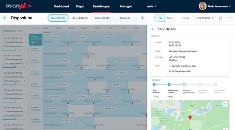 TrucksNow Auftrag ausführen und nachverfolgen mit live GPS