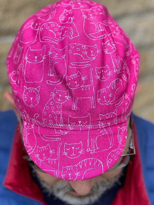 4 Panel Reversible Cycling Cap - Pink Cat/Grey