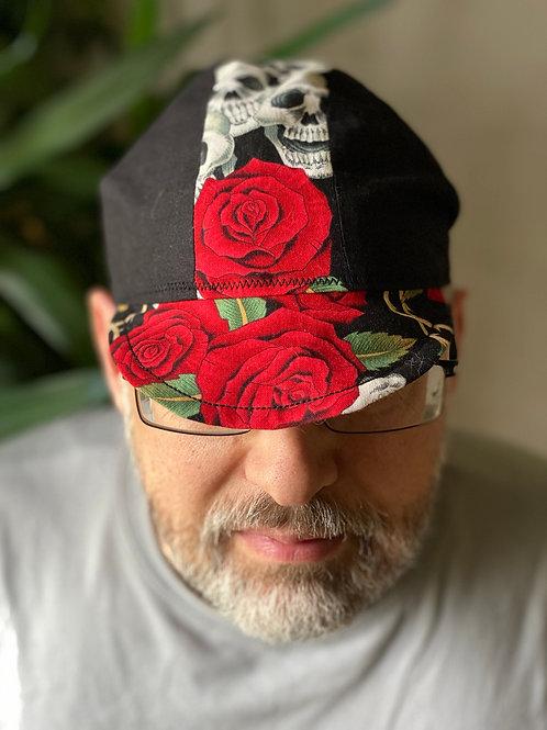 Skulls & Roses Cycling Cap - Blk/Wht