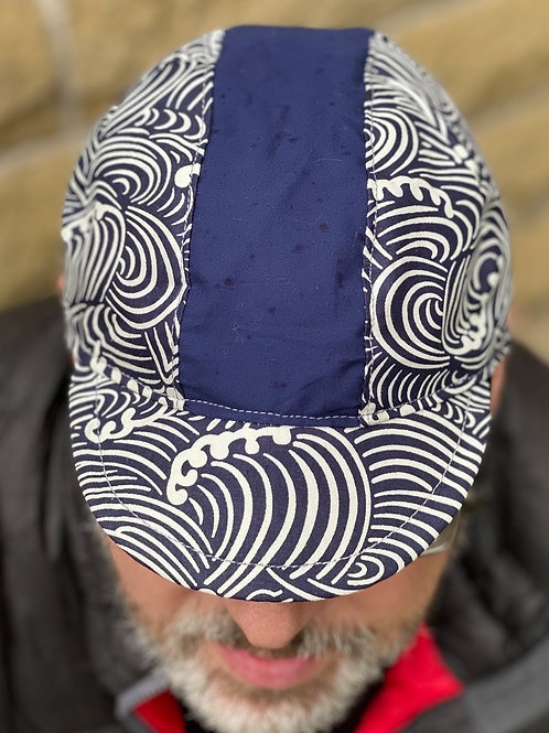3 Panel Cycling Cap -Japanese Waves