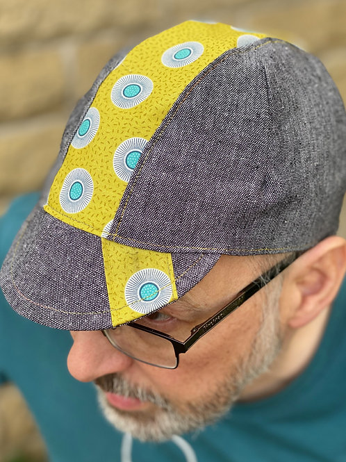 3 Panel Cycling cap - Blk/grey cotton/linen blend - Green trim