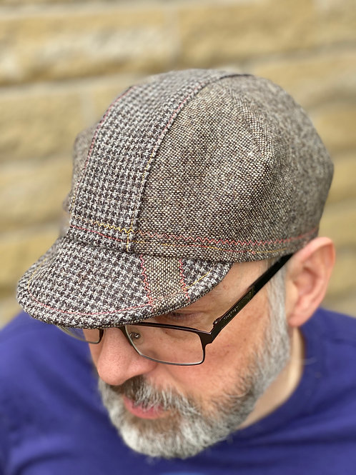 Yorkshire Wool Cycling cap - Tweed/Houndstooth