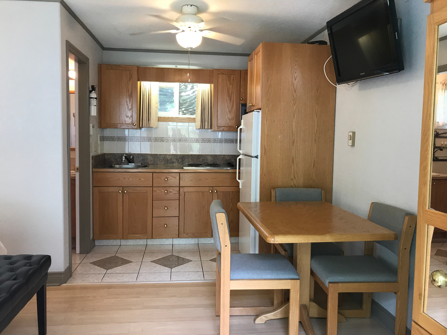 Kitchenettes in most suites