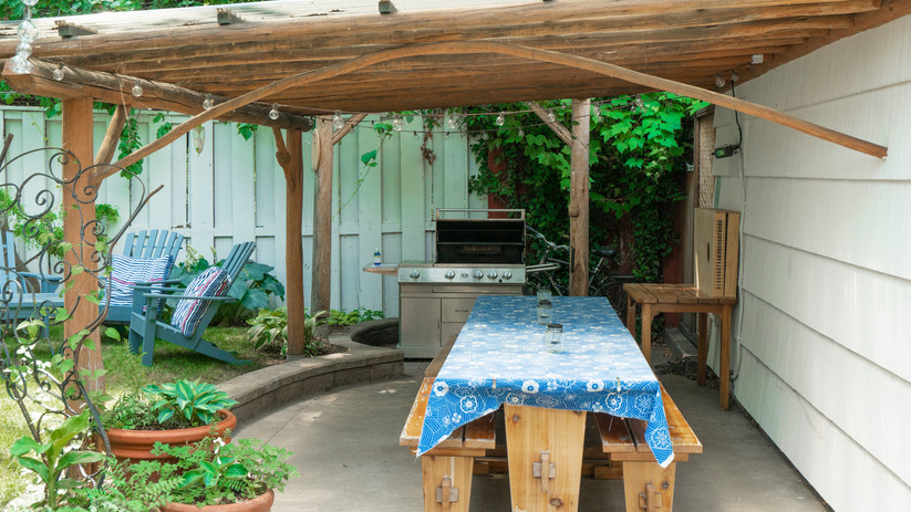 Our covered picnic table is perfect for family BBQ's