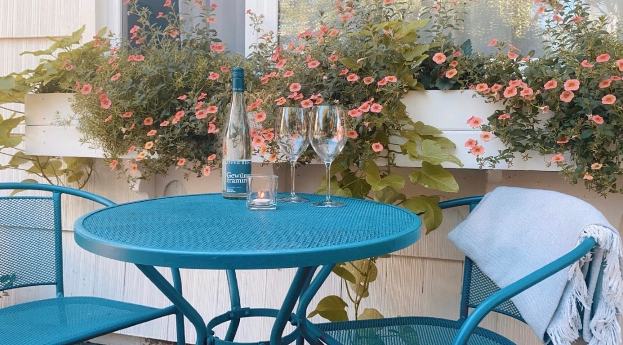 Sip some wine in the courtyard
