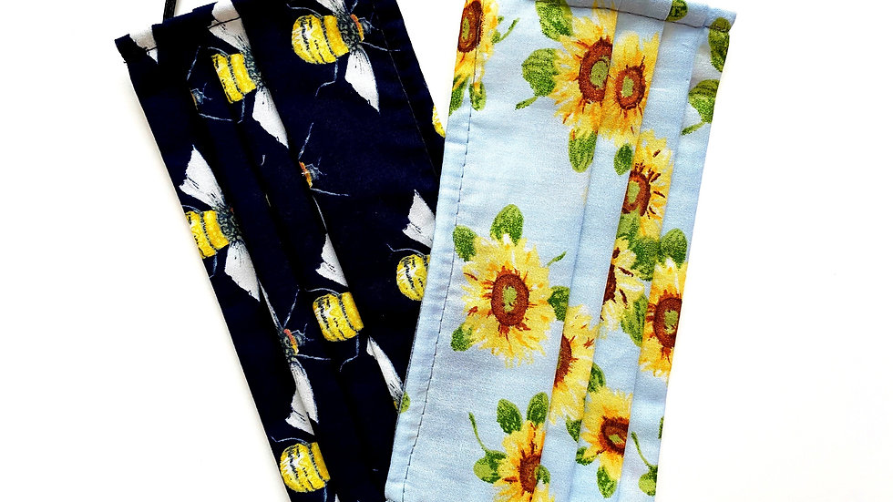 Bee & Sunflower 100% Cotton Masks