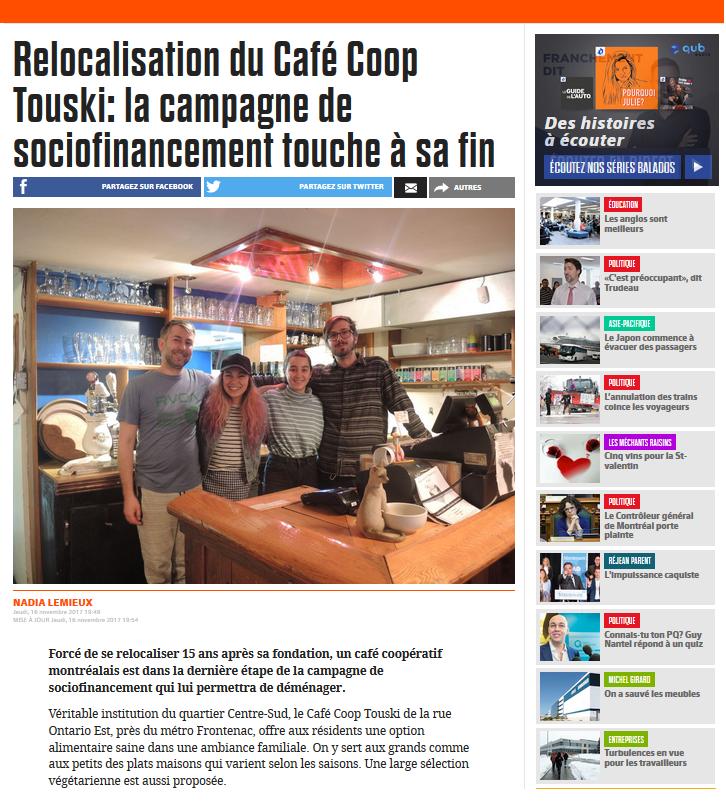 Sociofinancement touche à sa fin : Café coop Touski