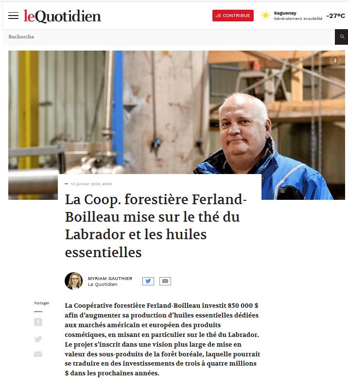 Nouveau projet pour la Coop forestière Ferland-Boilleau