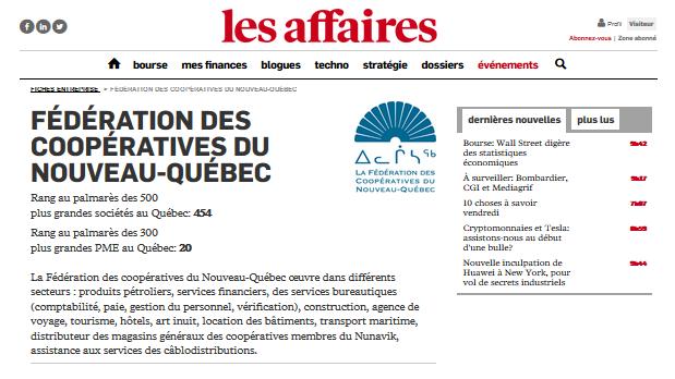 Oeuvrant dans différants secteurs d'activité : Fédération du Nouveau-Québec