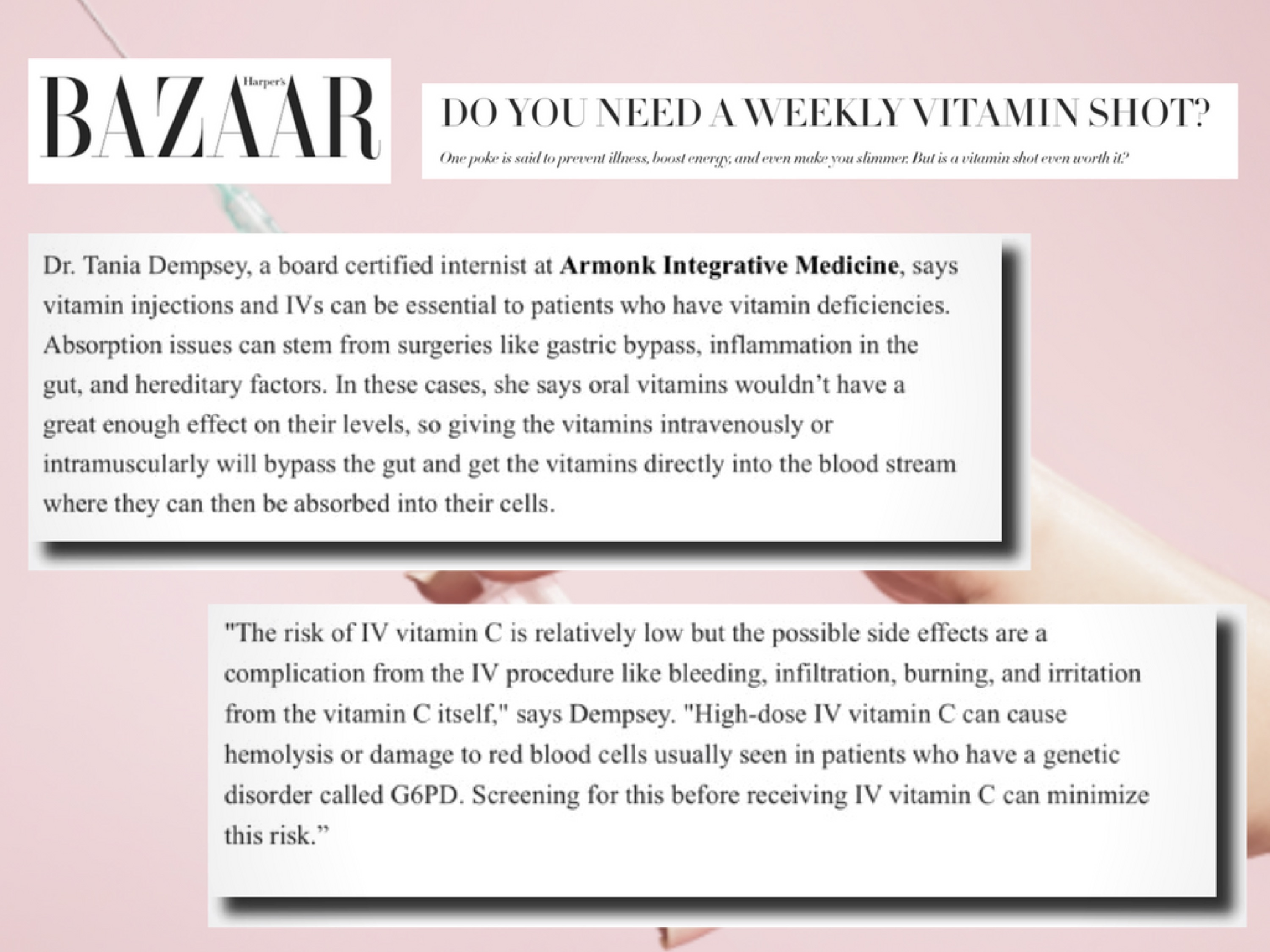 IV Therapy Harpers Bazaar