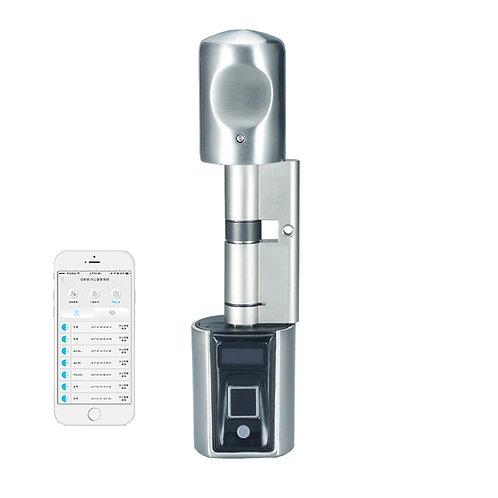 Cilindro Eletrônico T4 p/ Fechadura Europerfil com Biometria,Cartão e App BT