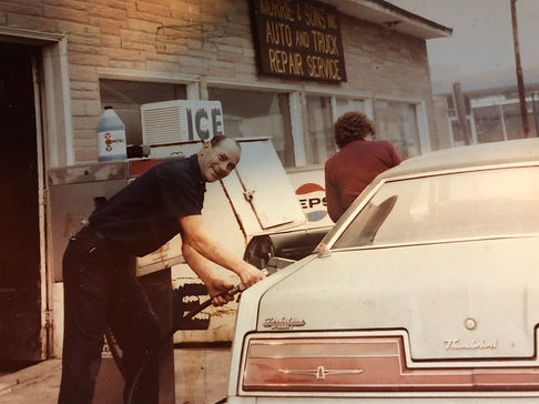 Morrie pumping gas