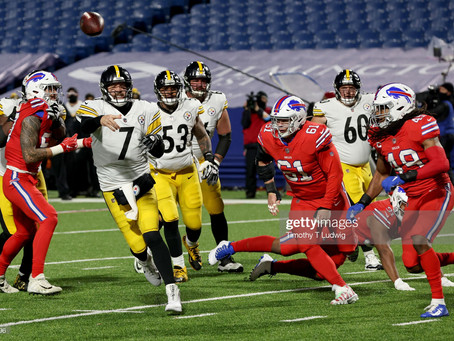 Bills are listed as 6.5-point favorites against the Steelers