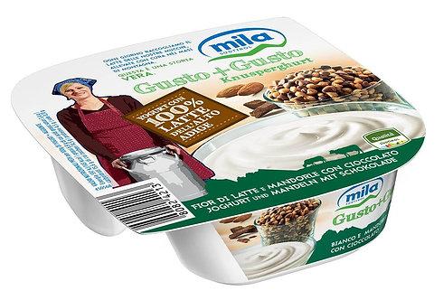 yogurt mila gusto + gusto fior di latte con cioccolato e mandorle