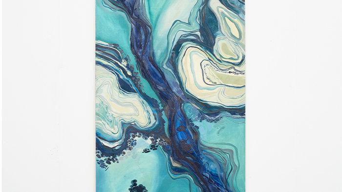 Tropical blues - Aerial panorama 230cm X 80 cm