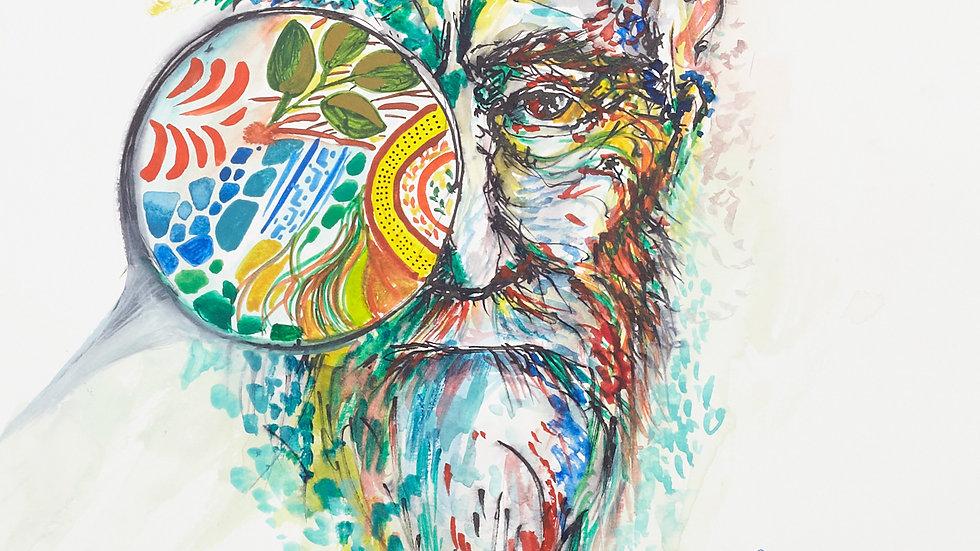 """Portrait - """"Mind portal"""", 30cm X 40cm, Watercolours"""