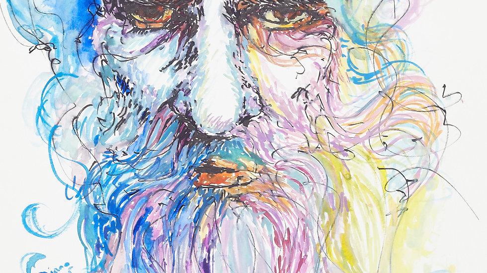 Portrait - The Eye of the unknown, 30cm X 40cm, Watercolours