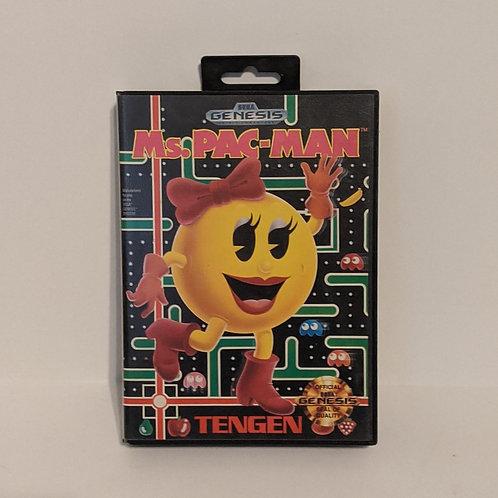 Ms. Pacman Sega Genesis Cart, Box, Instructions, & Inserts by Tengen