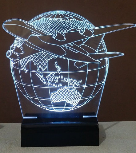Luminária Abajur 3D LED Avião Globo