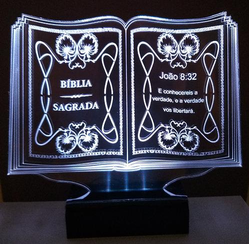 Luminária de mesa Abajur em Acrílico Led Bíblia Salmo