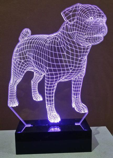 Luminária Abajur Pet Cão Pug