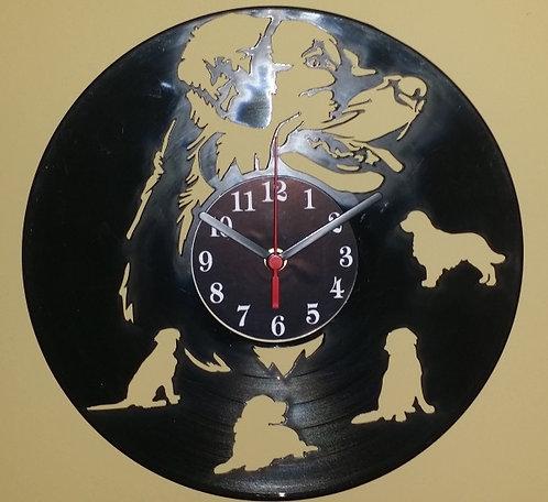 Relógio de parede em disco de vinil Golden Retrivier