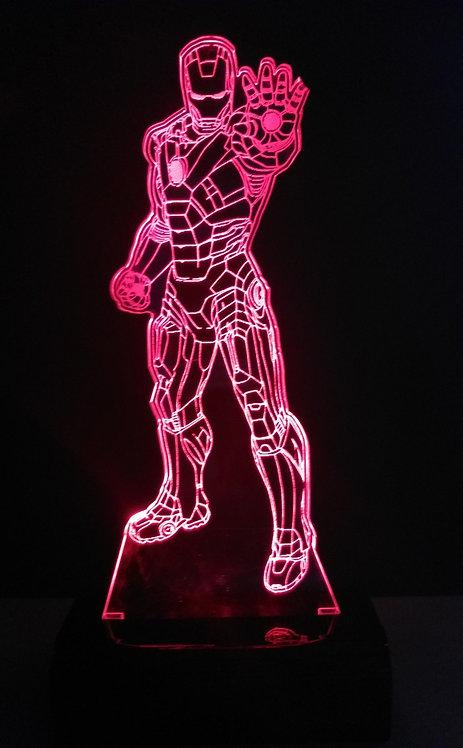 Luminária LED 3D Homem de Ferro