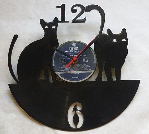 Relógio de parede em disco de vinil Gatos