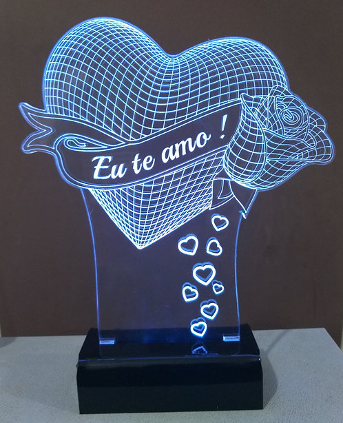 Luminária Led 3D Coração Eu te Amo
