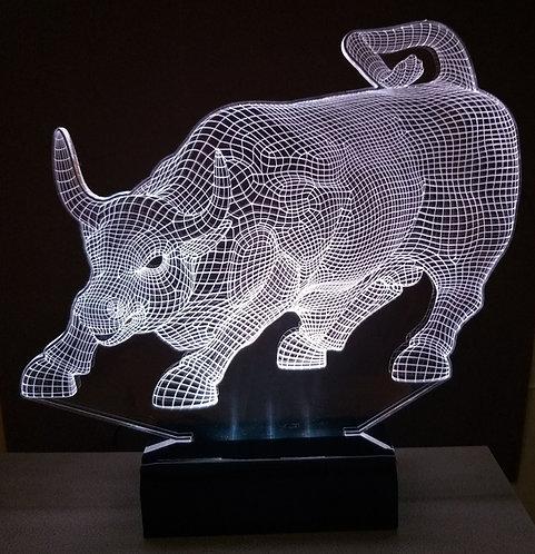 Luminária Abajur LED 3D Touro Market Wall Street