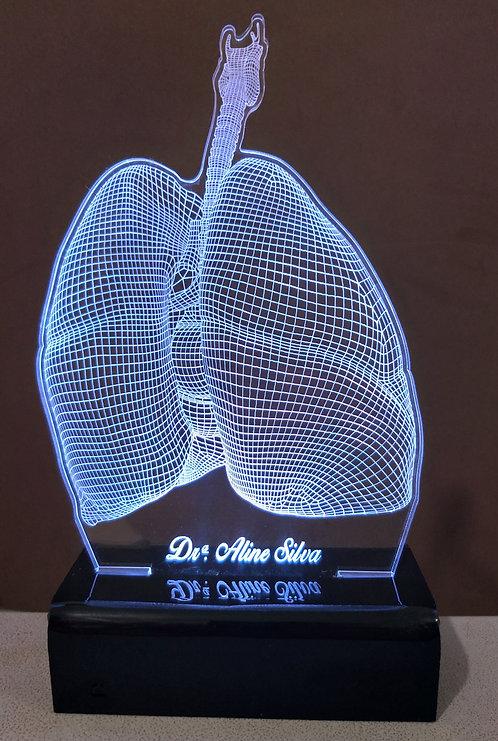 Luminária LED 3D Pulmão pneumologia