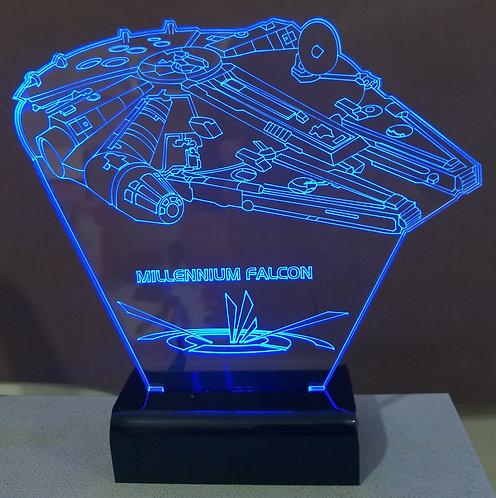 Luminária LED 3D Mullenium Falcon