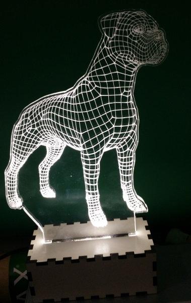 Luminária Abajur Pet Cão Boxer