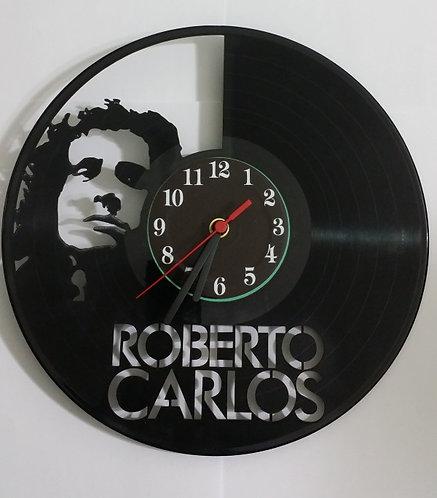 Relógio de parede em disco de vinil Roberto Carlos