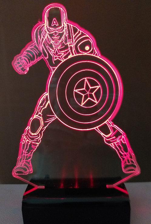 Luminária LED 3D Capitão América