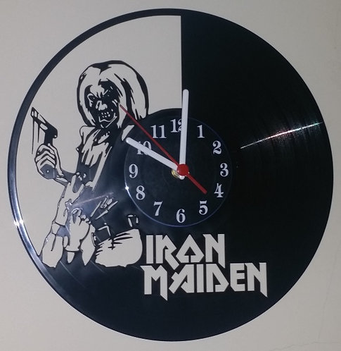 Relógio em disco de vinil Iron Maiden