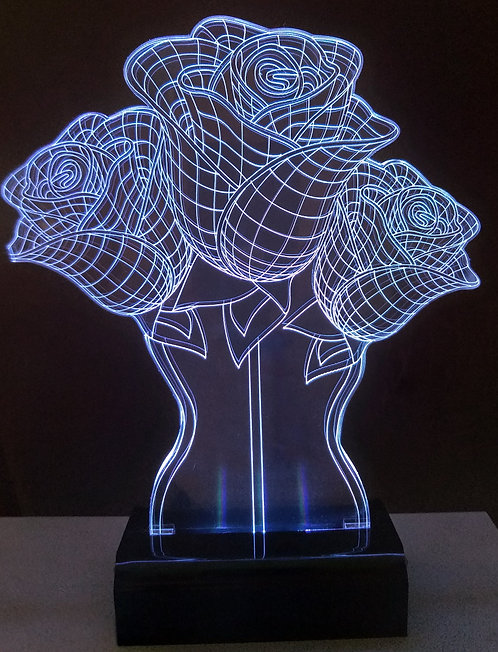 Luminária Led 3D Rosas