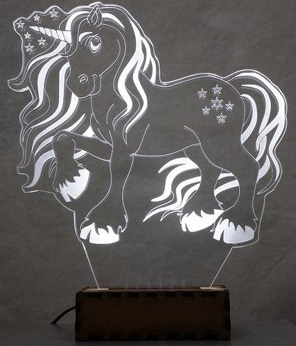 Luminária Abajur Desenho Unicórnio