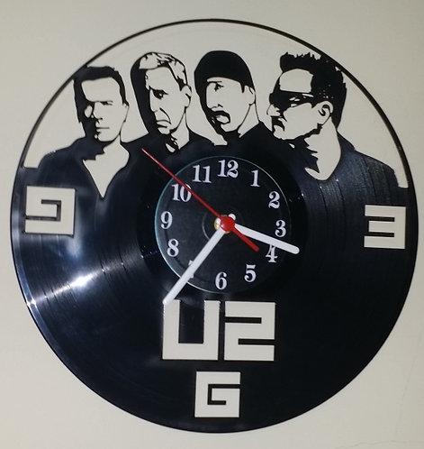 Relógio em disco de vinil Banda U2