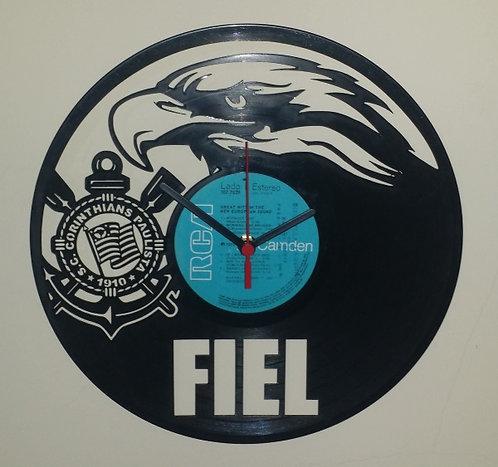 Relógio de parede em disco de vinil Time Corinthians