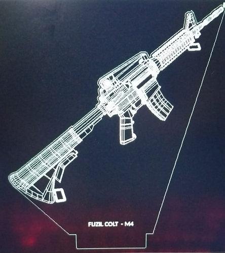 Luminária LED 3D fuzil M4