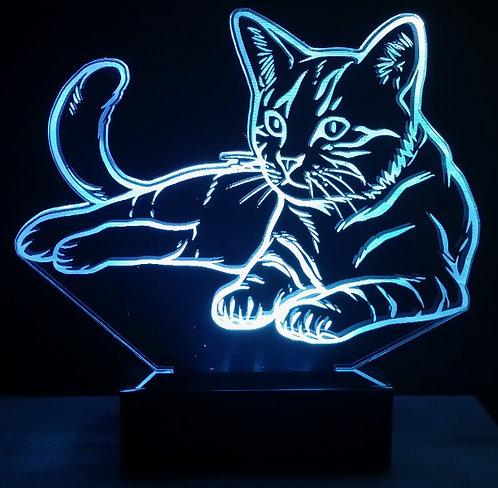 Luminária Abajur LED Gato Deitado