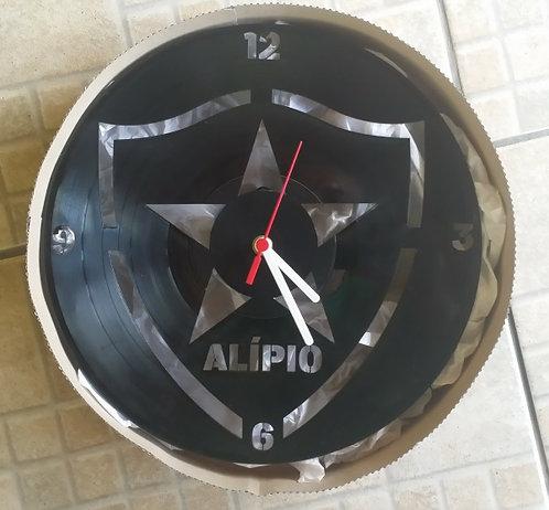Relógio de parede em disco de vinil Time Botafogo