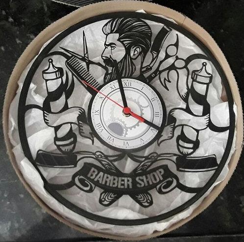 Relógio de parede em disco de vinil Barbeiro