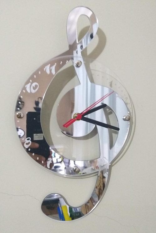Relógio de parede em acrílico espelhado Clave de Sol