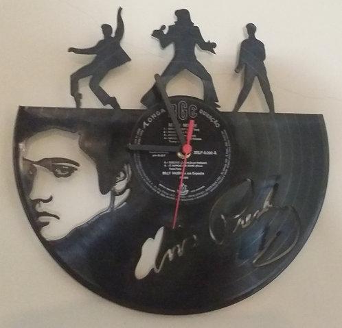 Relógio de parede em disco de vinil Elvis
