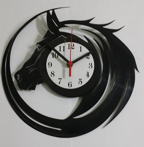 Relógio de parede em disco de vinil Cavalo
