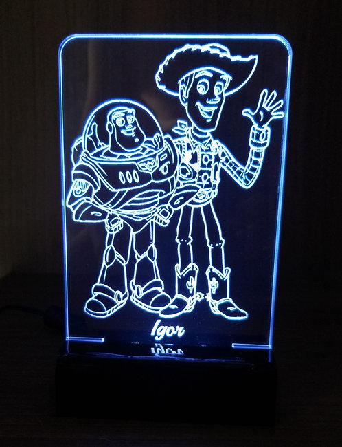 Luminária Led 3D Woody e Buzz