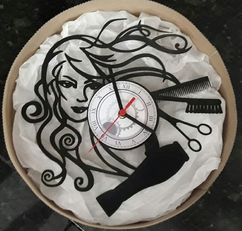 Relógio de parede em disco de vinil Cabelereira