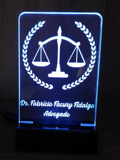 Luminária Led 3D Direito Advogado